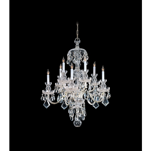 Crystorama Lighting Crystal Chandelier in Polished Brass Finish 1140-PB-CL-SAQ