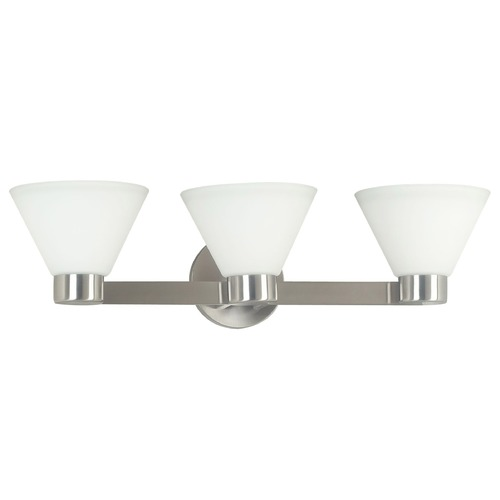 Kenroy Home Lighting Modern Bathroom Light with White Glass in Brushed Steel Finish 91793BS