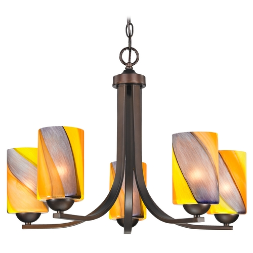 Design Classics Lighting Modern Chandelier with Art Glass in Neuvelle Bronze Finish 584-220 GL1015C
