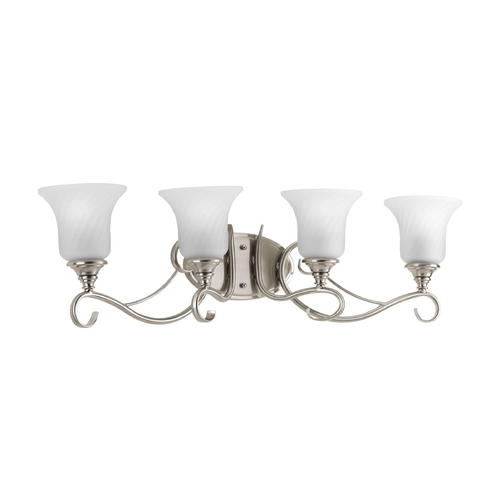 Progress Lighting Bathroom Light with White Glass in Brushed Nickel Finish P2786-09