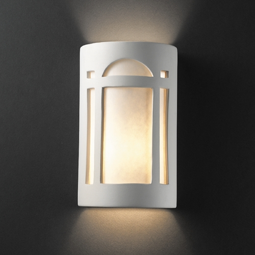 Justice Design Group Outdoor Wall Light with White in Bisque Finish CER-7385W-BIS