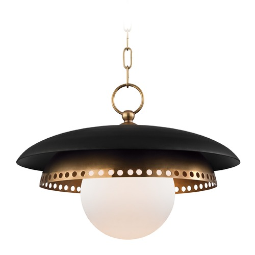 Hudson Valley Lighting Hudson Valley Lighting Herikimer Aged Brass Pendant Light with Globe Shade 3317-AGB