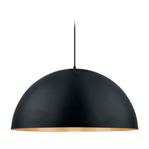 Eglo Lighting Eglo Gaetano Black / Gold LED Pendant Light with Bowl / Dome Shade 201295A