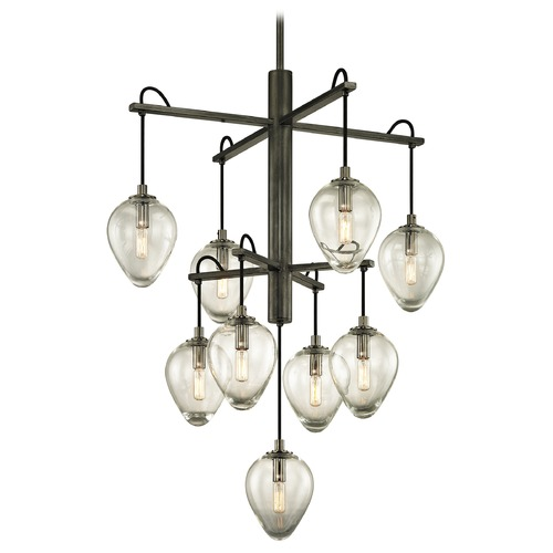 Troy Lighting Troy Lighting Brixton Gun Metal with Smoked Chrome Pendant Light with Bowl / Dome Shade F6207