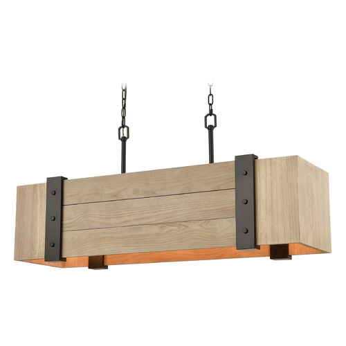 Elk Lighting Elk Lighting Wooden Crate Oil Rubbed Bronze, Natural Wood Island Light with Rectangle Shade 33386/5