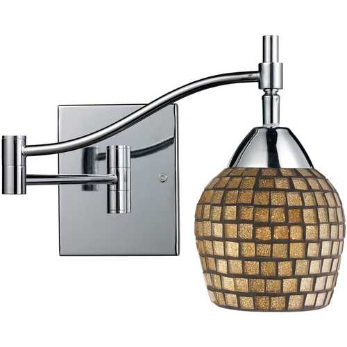 Elk Lighting Swing Arm Lamp with Art Glass in Polished Chrome Finish 10151/1PC-GLD