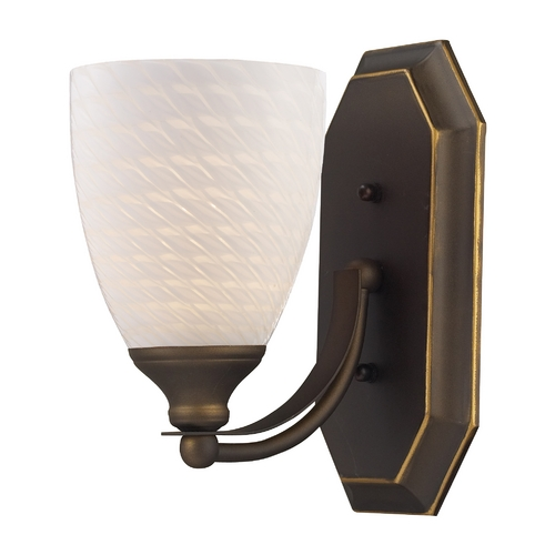 Elk Lighting Sconce with Art Glass in Aged Bronze Finish 570-1B-WS