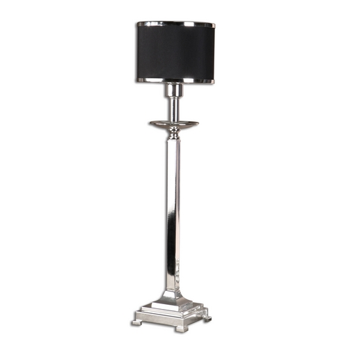 Uttermost Lighting Modern Console & Buffet Lamp with Black Shade in Silver Plated Finish 29859-1