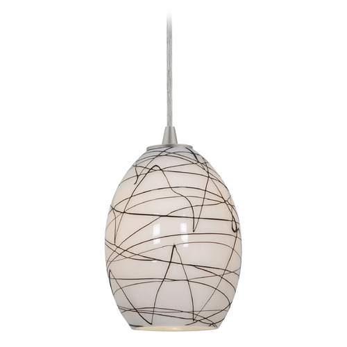 Access Lighting Modern Mini-Pendant Light with White Glass 28023-2C-BS/BLWH