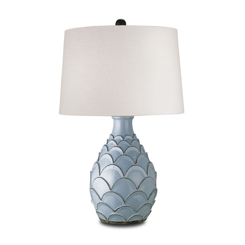 Currey and Company Lighting Table Lamp with White Shade in Baby Blue Finish 6658