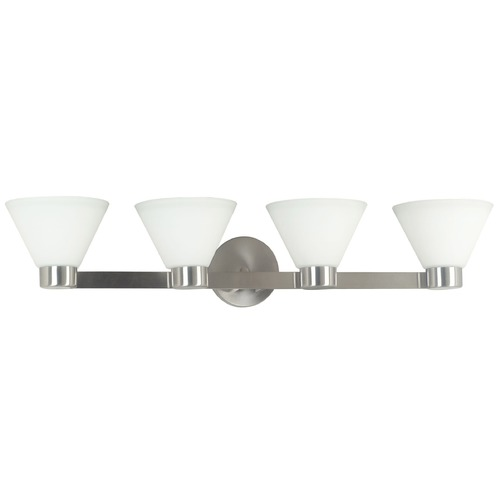 Kenroy Home Lighting Modern Bathroom Light with White Glass in Brushed Steel Finish 91794BS