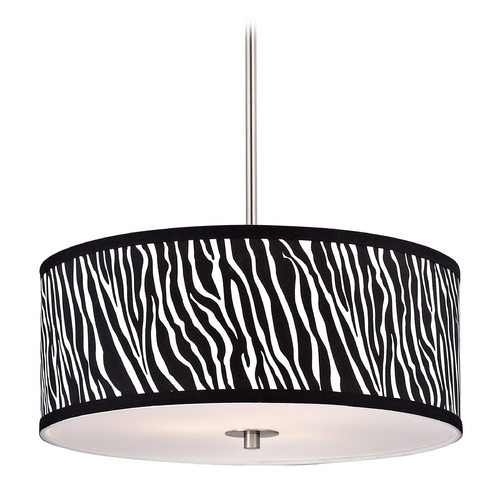 Design Classics Lighting Drum Pendant Light with Zebra Print Shade DCL 6528-09 SH9465