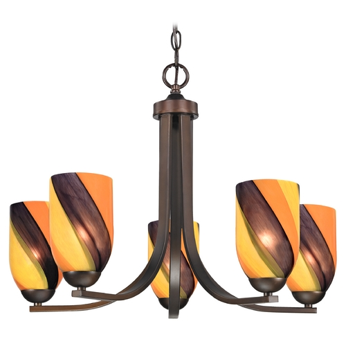 Design Classics Lighting Modern Chandelier with Art Glass in Neuvelle Bronze Finish 584-220 GL1015D