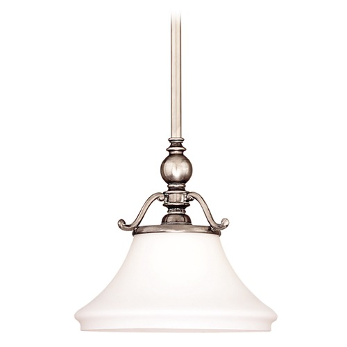 Hudson Valley Lighting Pendant Light with White Glass in Historic Nickel Finish 7821-HN