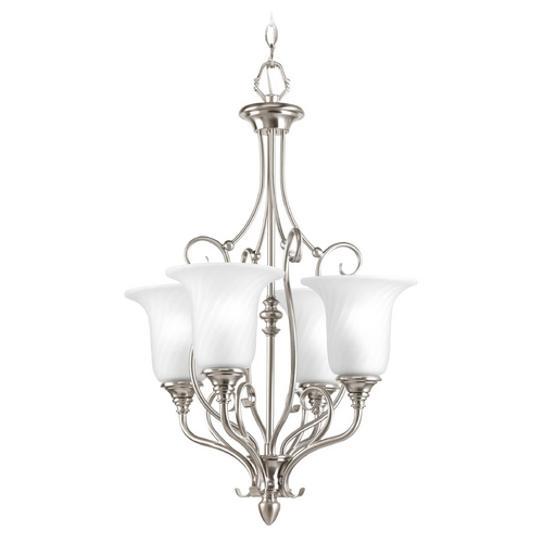 Progress Lighting Mini-Chandelier with White Glass in Brushed Nickel Finish P3464-09