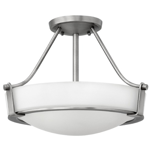 Hinkley Lighting Modern Semi-Flushmount Light with White Glass in Antique Nickel Finish 3220AN