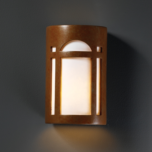 Justice Design Group Outdoor Wall Light with White in Rust Patina Finish CER-7385W-PATR