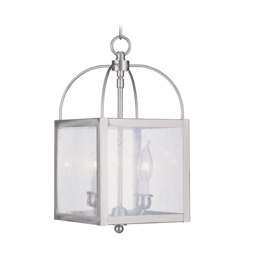 Livex Lighting Livex Lighting Milford Brushed Nickel Mini-Pendant Light with Square Shade 4045-91