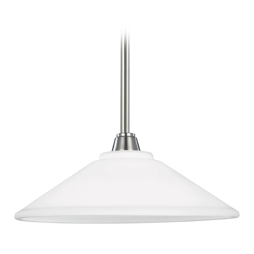 Sea Gull Lighting Sea Gull Lighting Parkfield Brushed Nickel Pendant Light with Coolie Shade 6513001BLE-962
