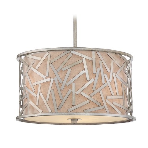 Quoizel Lighting Quoizel Lighting Jarvis Old Silver Pendant Light with Drum Shade JV2816OS