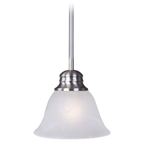 Maxim Lighting Maxim Lighting Malaga Satin Nickel Mini-Pendant Light with Bell Shade 91067MRSN