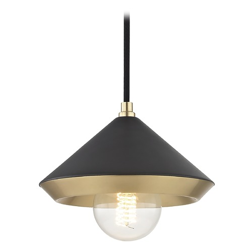 Hudson Valley Lighting Mid-Century Modern Mini-Pendant Light Brass Mitzi Marnie by Hudson Valley H139701S-AGB/BK