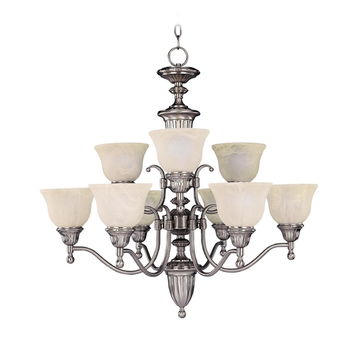 Maxim Lighting Chandelier with Beige / Cream Glass in Satin Nickel Finish 11054SVSN