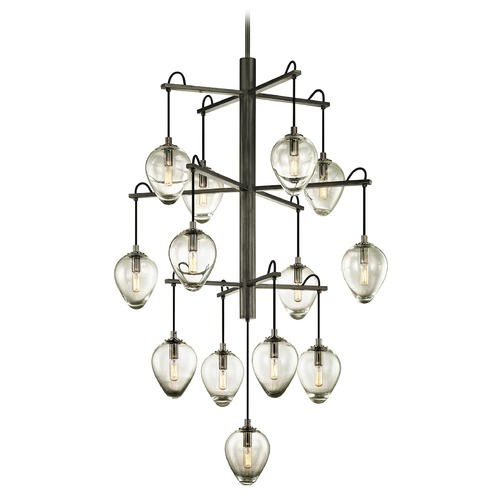 Troy Lighting Troy Lighting Brixton Gun Metal with Smoked Chrome Pendant Light with Bowl / Dome Shade F6208