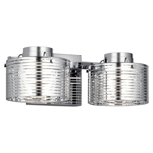 Elan Lighting Santora 2-Light Chrome LED Bathroom Light with Clear Lines Glass 85055CH