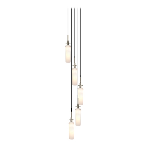 Sonneman Lighting Modern Pendant Light with White Glass in Satin Nickel Finish 3035.13