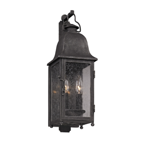 Troy Lighting Outdoor Wall Light with Clear Glass in Aged Pewter Finish B3211