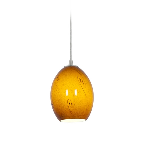 Access Lighting Modern Mini-Pendant Light with Amber Glass 28023-2C-BS/ASKY