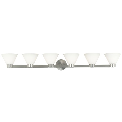 Kenroy Home Lighting Modern Bathroom Light with White Glass in Brushed Steel Finish 91796BS