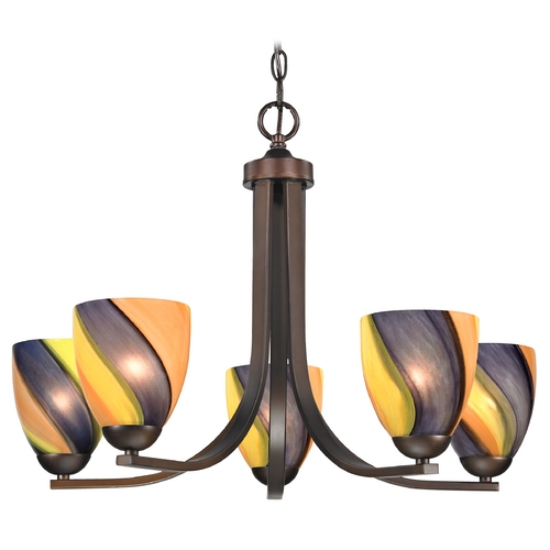Design Classics Lighting Modern Chandelier with Art Glass in Neuvelle Bronze Finish 584-220 GL1015MB