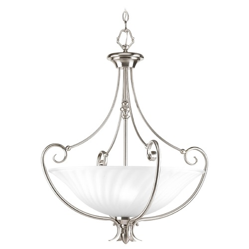 Progress Lighting Pendant Light with White Glass in Brushed Nickel Finish P3532-09