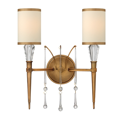 Frederick Ramond Sconce Wall Light with Beige / Cream Shades in Brushed Bronze Finish FR44502BBZ