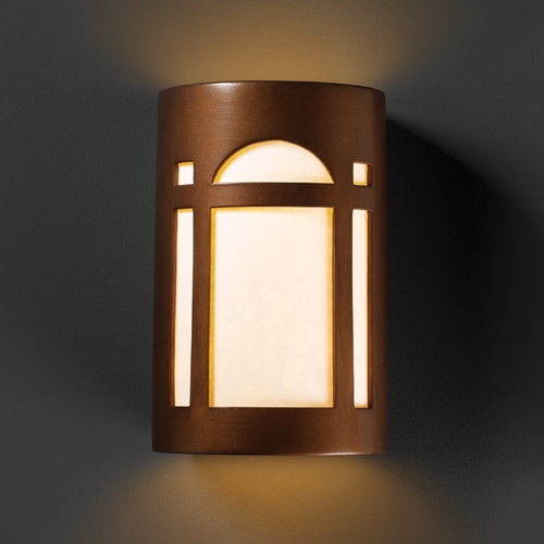 Justice Design Group Outdoor Wall Light with White in Antique Copper Finish CER-7395W-ANTC