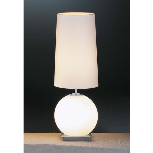 Holtkoetter Lighting Holtkoetter Modern Table Lamp with White Shades in Satin Nickel Finish 6032 SN SW SWRD