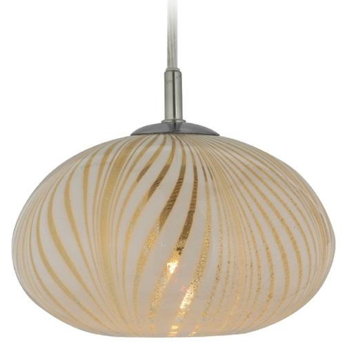 Oggetti Lighting Oggetti Lighting Oro Satin Nickel Mini-Pendant Light with Oblong Shade 31-112B