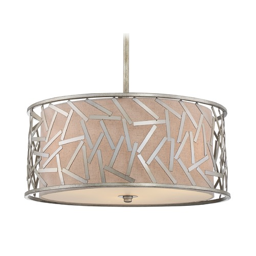 Quoizel Lighting Quoizel Lighting Jarvis Old Silver Pendant Light with Drum Shade JV2820OS