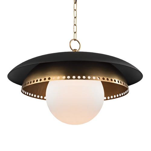 Hudson Valley Lighting Hudson Valley Lighting Herikimer Aged Brass Pendant Light with Globe Shade 3325-AGB