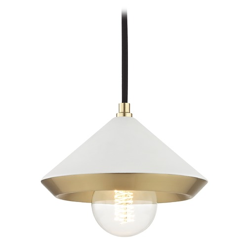 Hudson Valley Lighting Mid-Century Modern Mini-Pendant Light Brass Mitzi Marnie by Hudson Valley H139701S-AGB/WH