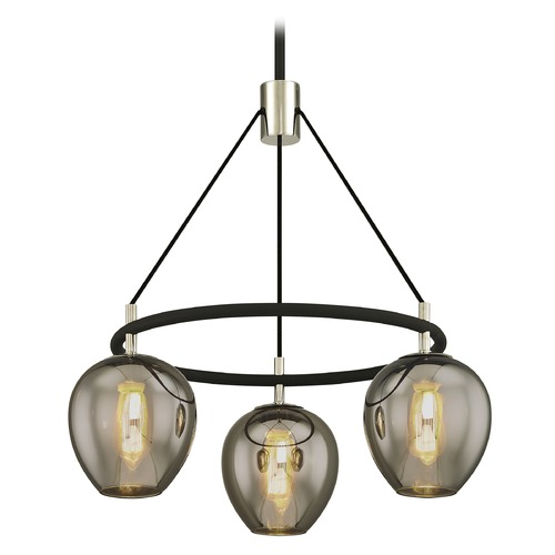 Troy Lighting Troy Lighting Iliad Carbide Black with Polished Nickel Pendant Light with Bowl / Dome Shade F6213