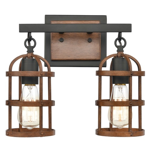 Elk Lighting Elk Lighting Millville Oil Rubbed Bronze, Dark Oak Bathroom Light 15483/2