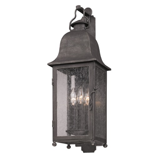 Troy Lighting Outdoor Wall Light with Clear Glass in Aged Pewter Finish B3212
