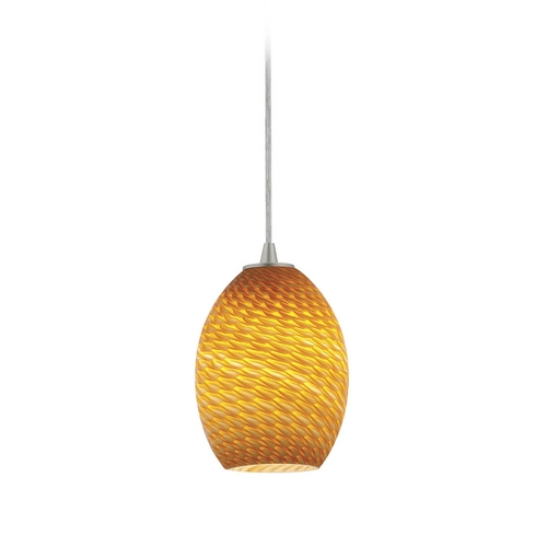 Access Lighting Modern Mini-Pendant Light with Amber Glass 28023-2C-BS/AMBFB