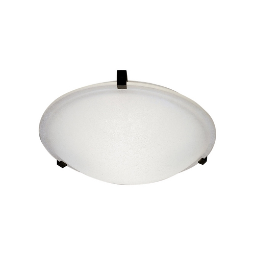 PLC Lighting Modern Flushmount Light with White Glass in Black Finish 3442 BK