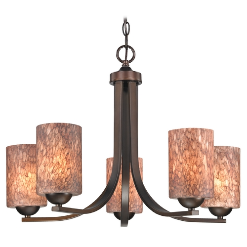 Design Classics Lighting Modern Chandelier with Brown Art Glass in Bronze Finish 584-220 GL1016C