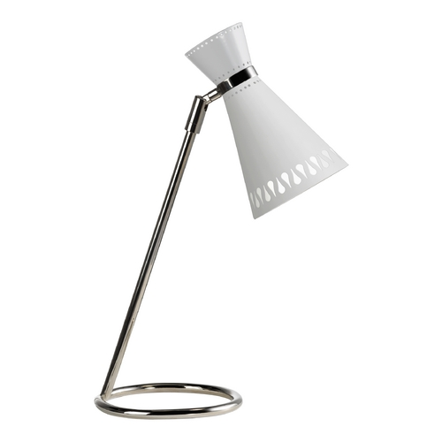 Robert Abbey Lighting Mid-Century Modern Table Lamp Polished Nickel Jonathan Adler Havana by Robert Abbey W691