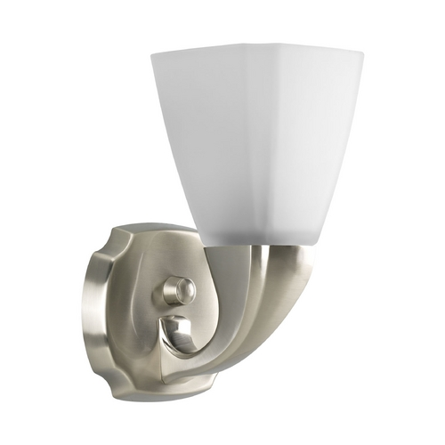 Progress Lighting Progress Sconce Wall Light with White Glass in Brushed Nickel Finish P2846-09